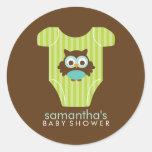 Hoot Owl Outfit Boy Baby Shower Round Sticker