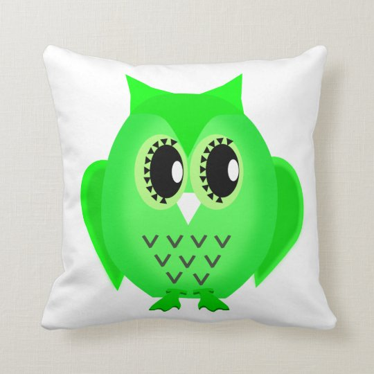 Hootie Hoot Owl Lime Green Choose Background Throw Pillow