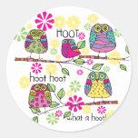 Hootie Owl Round Stickers