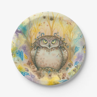 Hootie, The Wise Whimsical Grumpy Owl Paper Plate