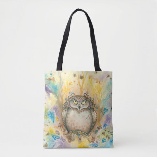 Hootie, The Wise Whimsical Grumpy Owl Tote Bag
