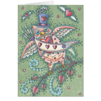 HOOTS N' HEARTS OWL VALENTINE'S DAY NOTE CARD