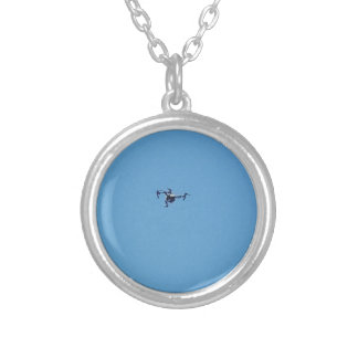 Hoovering Droid Against Blue Sky Simplicity Silver Plated Necklace