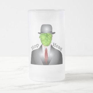 hop head frosted glass beer mug