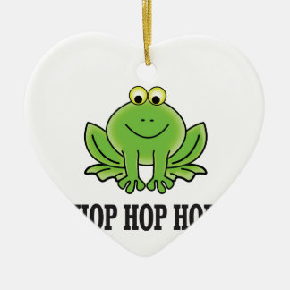 Hop hop hop frog ceramic ornament