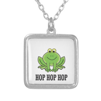 Hop hop hop frog silver plated necklace
