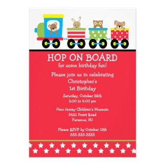 Hop on Board Birthday Train Invitation