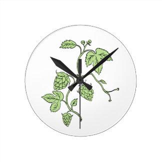 Hop Plant Climbing Drawing Round Clock