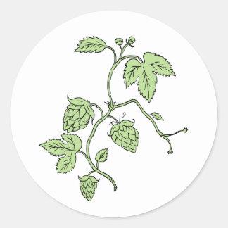Hop Plant Climbing Drawing Round Sticker