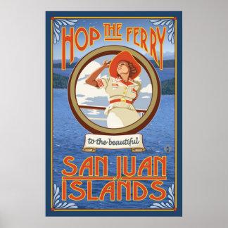 Hop the Ferry - San Juan Islands, WA Travel Poster