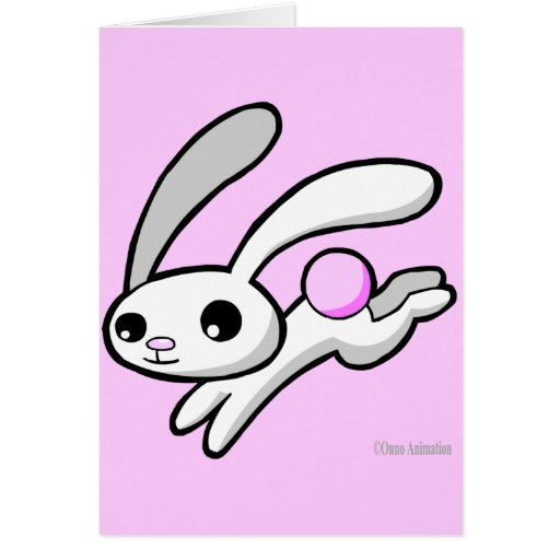 Hop the rabbit with fluffy pink tail greeting card