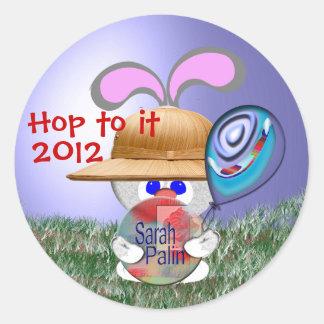 Hop to it round sticker