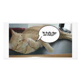 Hope and Change Cat Humor Custom Photo Card