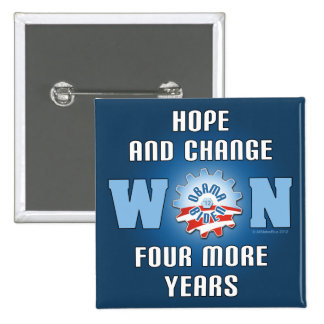 Hope And Change Won Four More Years 2 Inch Square Button