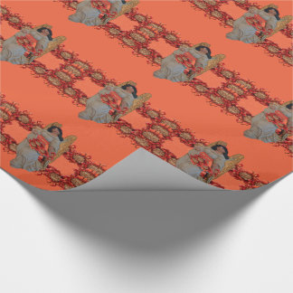 Hope Angel Outrageous Orange Snow Wrapping Paper