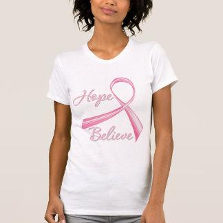Hope Believe Brush Ribbon Breast Cancer Tank