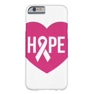 Hope Breast Cancer awareness pink ribbon on heart Barely There iPhone 6 Case