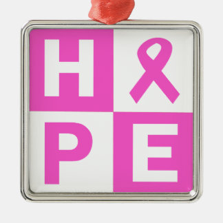 Hope Breast Cancer Awareness Silver-Colored Square Ornament
