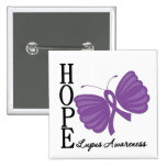 Hope Butterfly Lupus 2 Inch Square Button