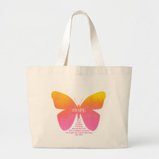 Hope Butterfly With Jeremiah 29:11 verse Large Tote Bag