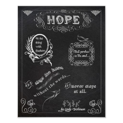 Hope chalkboard chalk board poster 11x14