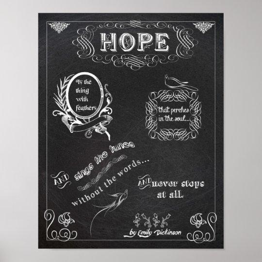 Hope chalkboard chalk board poster 11x14