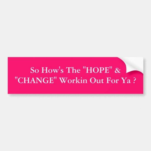 """HOPE"" & ""CHANGE""  pink Bumper Sticker"