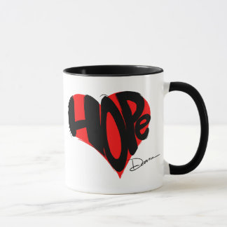 Hope coffee mug. Red & Black.  Black inside. Mug