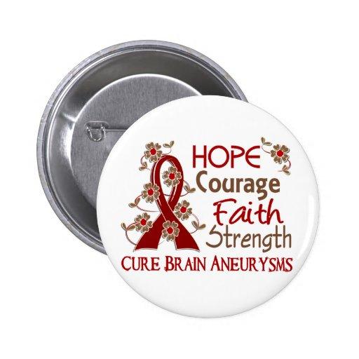 Hope Courage Faith Strength 3 Brain Aneurysms Pin