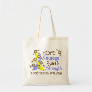 Hope Courage Faith Strength 3 Down Syndrome Tote Bag