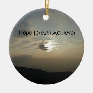 Hope Dream Achieve Round Ceramic Ornament