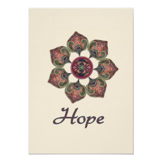 HOPE Fabric Collage Flower Red and Blue Card
