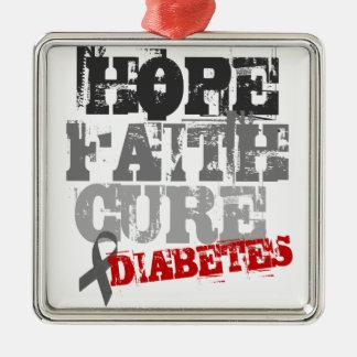 Hope. Faith. Cure. Diabetes Silver-Colored Square Ornament