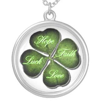 Hope, Faith, Love, & Luck 4 Leaf Clover Round Pendant Necklace