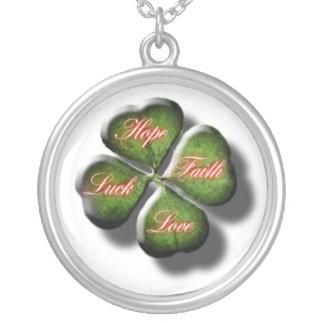 Hope, Faith, Love, & Luck 4 Leaf Clover Silver Plated Necklace