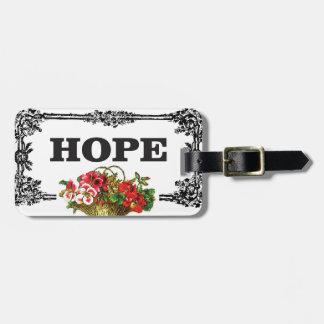 hope flower basket luggage tag