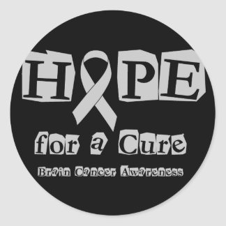 Hope for a Cure - Grey Ribbon Brain Tumor / Cancer Classic Round Sticker