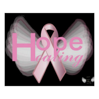 Hope HealingOn Angelic Wings Pink Ribbon Poster