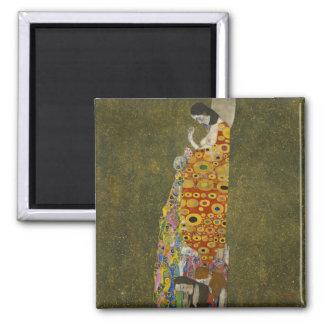 Hope II by Gustav Klimt Square Magnet