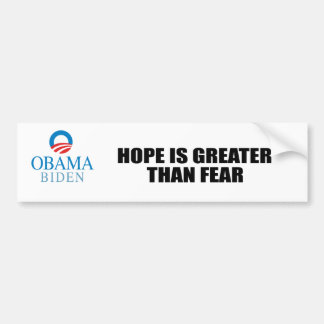 HOPE IS GREATER THAN FEAR BUMPER STICKER