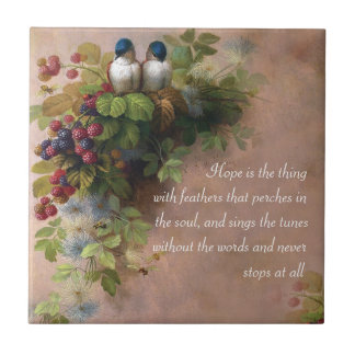 Hope is the thing with feathers artistic tile