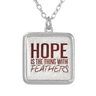 Hope is the thing with feathers silver plated necklace