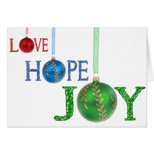 Hope Love and Joy Christmas Ornaments Holiday Card