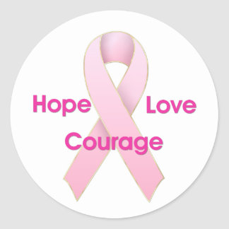 Hope/Love/Courage Breast Cancer Ribbon Stickers