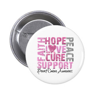 Hope Love Cure Breast Cancer Awareness Button