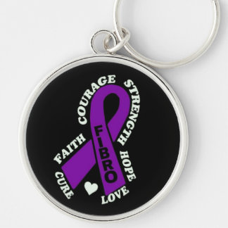 Hope Love Cure...Fibro Silver-Colored Round Keychain