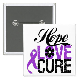 Hope Love Cure PANCREATIC CANCER Gifts 2 Inch Square Button