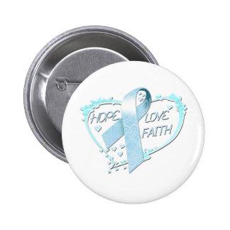Hope Love Faith Heart light blue Pin