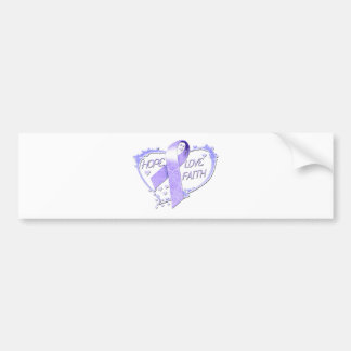 Hope Love Faith Heart (purple) Bumper Sticker