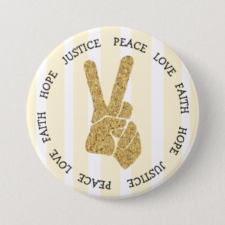 Hope Love Peace Sign Gold and White Button